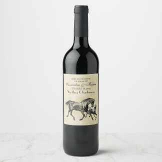 Preppy Vintage Horses Mother Baby Foal Wine Label