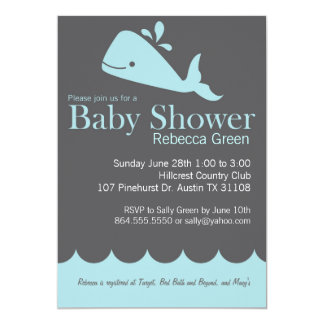 Preppy Whale Baby Shower Invitation
