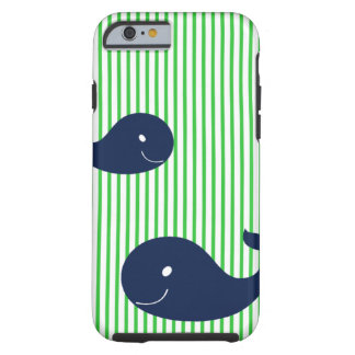 Preppy Whale Navy Green Stripe iPhone 6 case