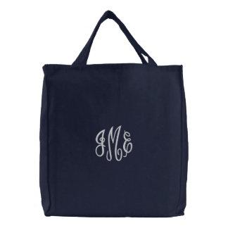 Preppy White Script Monogram Embroidered Navy Bag