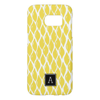 Preppy YELLOW LEMON Black Monogram Personalized Samsung Galaxy S7 Case
