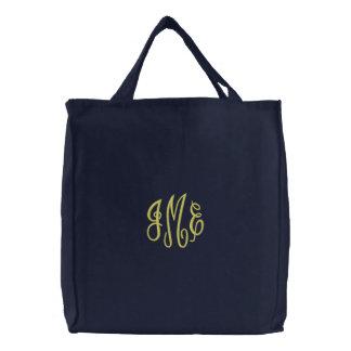 Preppy Yellow Script Monogram Embroidered Navy Bag