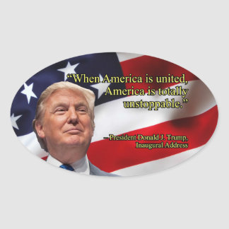 PRES45 AMERICA UNITED OVAL STICKER