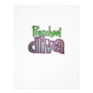 Preschool Diva School Grade Kids add Text Color Custom Letterhead