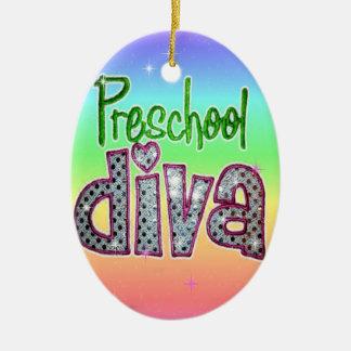Preschool Diva School Grade Kids Girl Sparkle Ceramic Oval Ornament
