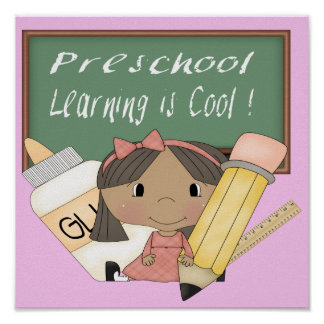 Preschool Ethnic Girl Learning is Cool Poster