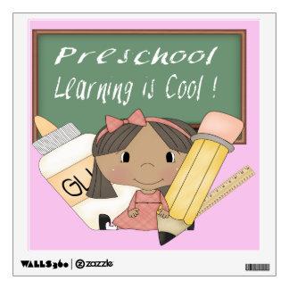 Preschool Ethnic Girl Learning is Cool Wall Decal