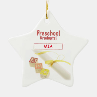Preschool Graduation Blocks, Gift Item Ceramic Star Ornament