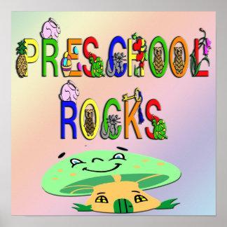 Preschool Rocks Mushroom Poster