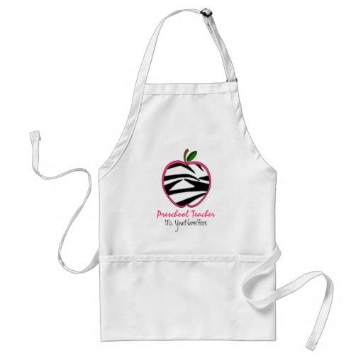 Preschool Teacher Apron - Black Zebra Print Apple