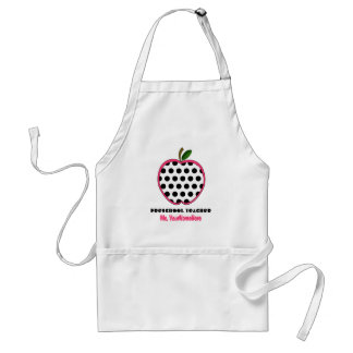 Preschool Teacher Apron - Polka Dot Apple