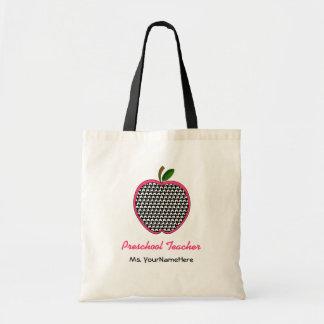 Preschool Teacher Bag- Houndstooth Apple with Pink