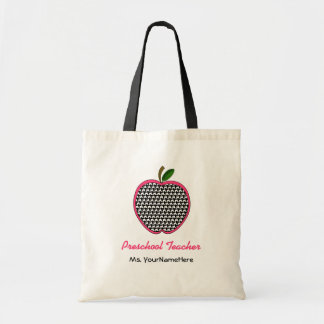 Preschool Teacher Bag- Houndstooth Apple with Pink Tote Bag