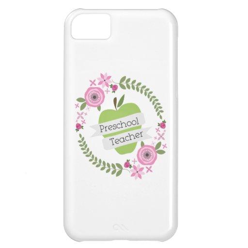 Preschool Teacher Floral Wreath Green Apple iPhone 5C Covers