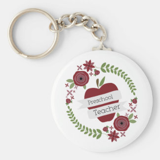 Preschool Teacher  Floral Wreath Red Apple Keychain