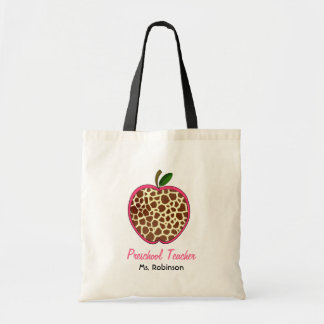 Preschool Teacher - Giraffe Print Apple Tote Bag