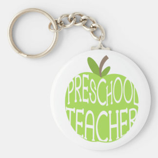 Preschool Teacher Keychain - Green Apple