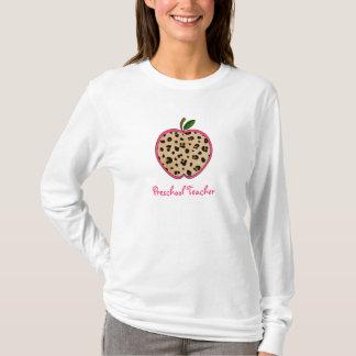 Preschool Teacher Leopard Print Apple T-Shirt