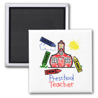 Preschool Teacher Magnet - Schoolhouse & Crayons