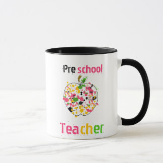 Preschool Teacher Mug - Paint Splatter Apple