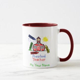 Preschool Teacher Mug - Schoolhouse and Crayons