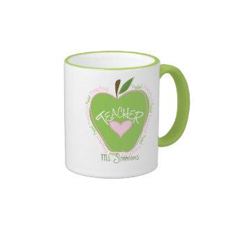 Preschool Teacher Pink & Green Apple Ringer Mug