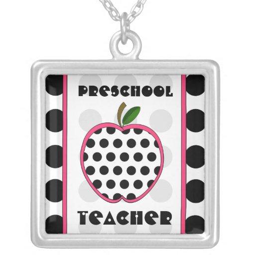 Preschool Teacher Polka Dot Apple Black White Pink Personalized Necklace