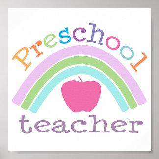 Preschool Teacher Rainbow Poster