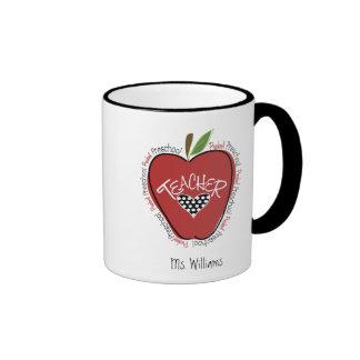 Preschool Teacher Red Apple Ringer Mug