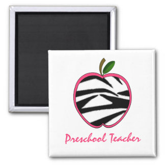 Preschool Teacher Zebra Print Apple Square Magnet