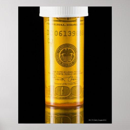 Prescription bottle with one hundred dollar bill print