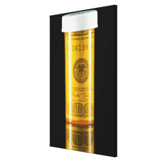Prescription bottle with one hundred dollar bill stretched canvas prints