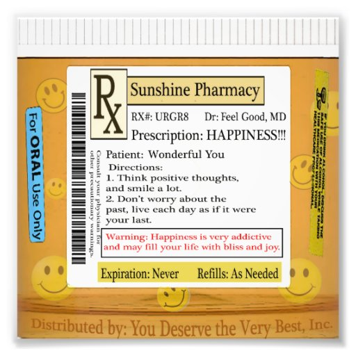 Prescription de RX pour le bonheur Impressions Photo