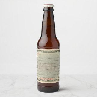 Prescription for Medical Liquor. Prohibition. Beer Bottle Label