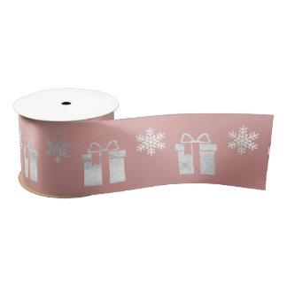 Present Gift Snowflakes Silver Pink Rose Gold Satin Ribbon