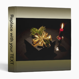 Present Gold Bow with Red Candle 3 Ring Binder