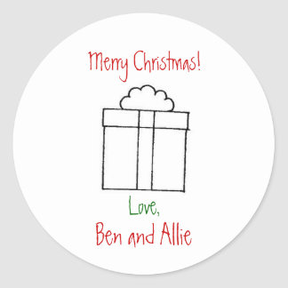 present, Merry Christmas!,  Ben and Allie, Love, Round Sticker