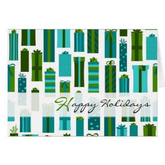 Présents enveloppés mignons bonnes fêtes - carte de vœux