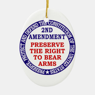 Preserve The Right to Bear Arms ( 2nd Amendment ) Ceramic Oval Ornament