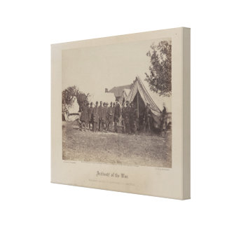 President Abe Lincoln on battle field of Antietam Canvas Print