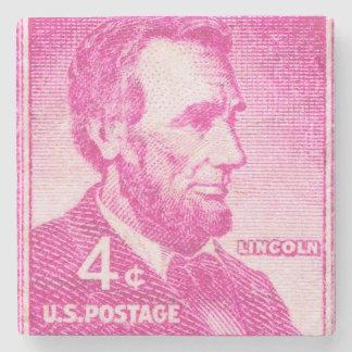 President Abe Lincoln - Vintage Postage Stamp Stone Coaster