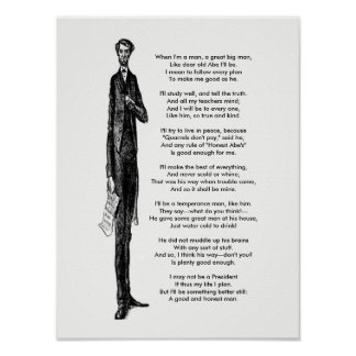 President Abraham Lincoln Tribute Vintage Poem Poster