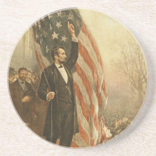 President Abraham Lincoln Under the American Flag Coaster