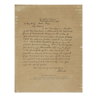 President Abraham Lincoln's Letter to Mrs. Bixby Poster