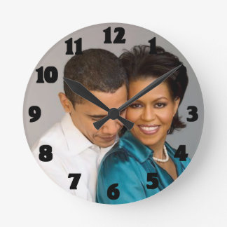 PRESIDENT AND MRS. OBAMA-CLOCK ROUND CLOCK