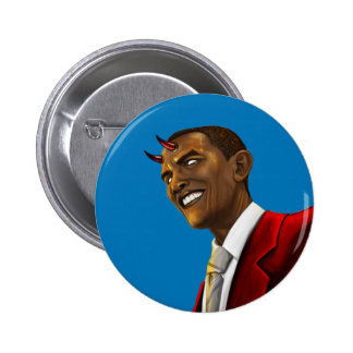 President Barack Obama as the Devil Halloween 2 Inch Round Button