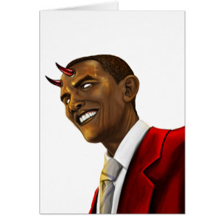 President Barack Obama as the Devil Halloween Card