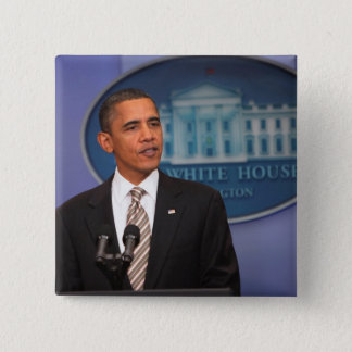 President Barack Obama makes an announcement 2 Inch Square Button