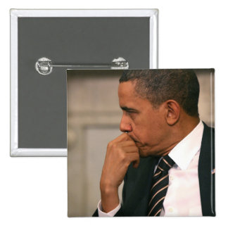 President Barack Obama meets with President 2 Inch Square Button