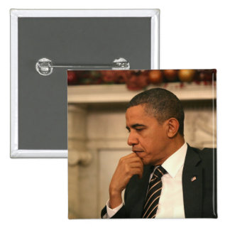 President Barack Obama reflects as he meets 2 Inch Square Button